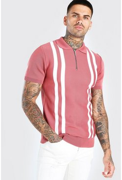 Dusky pink Half Zip Stripe Knitted Polo