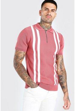 Dusky pink Half Zip Stripe Knitted Polo