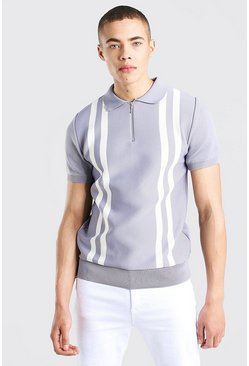 Silver Zip Through Stripe Knitted Polo