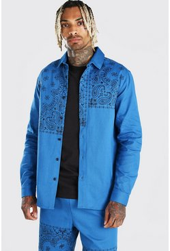 Blue Bandana Panel Print Overshirt