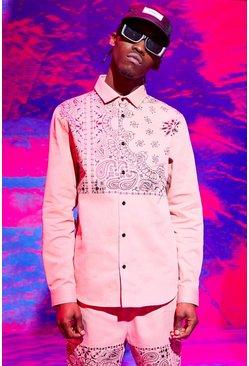 Pink Bandana Print Shirt Jacket