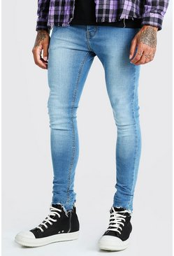 Mid blue Spray On Jeans With Destroyed Hem