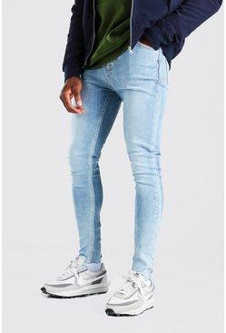 Light blue Spray On Jeans With Destroyed Hem