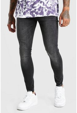 Washed black Spray On Jeans With Destroyed Hem
