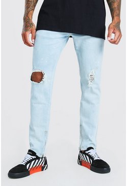 Ice blue Skinny Ripped Knee Paint Splat Jeans With Zip