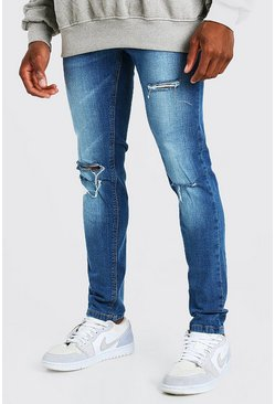 Mid blue Skinny Stretch Jeans With Multi Rips