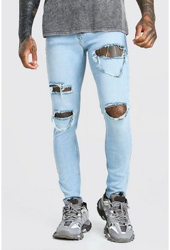 Light blue Skinny Stretch Jeans With Multi Rips