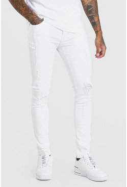 White Super Skinny Distressed Jeans