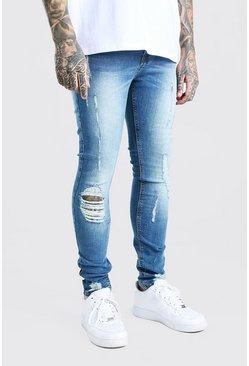 Mid blue Super Skinny Distressed Jeans