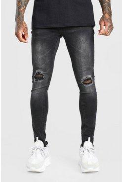 Washed black Super Skinny Bust Knee Destroyed Hem Jeans