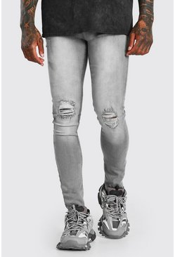 Grey Super Skinny Busted Knee Jeans With Destroyed Hem