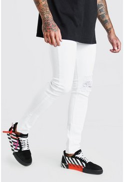 White Super Skinny Jeans With Heavy Distressing