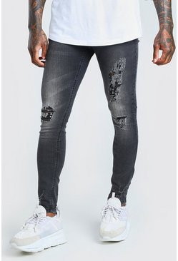 Washed black Super Skinny Jeans With Heavy Distressing
