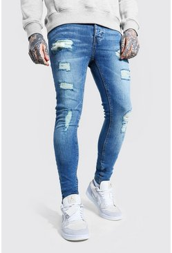 Mid blue Super Skinny All Over Ripped Jeans