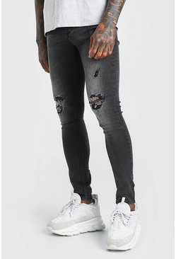 Black Super Skinny Ripped Jeans With Busted Knees