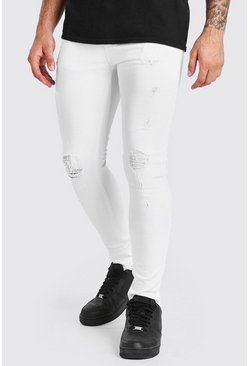 White Super Skinny Ripped Jeans With Busted Knees
