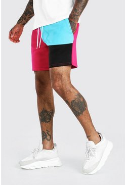 Pink MAN Mid Length Patchwork Colour Block Jersey Shorts