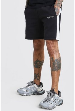 Black MAN Official Mid length Short With Side Panel