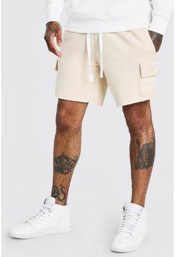 Stone MAN Print Mid Length Shorts With Raw Hem