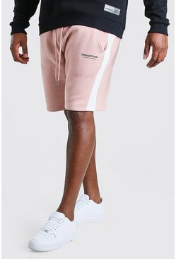 Big And Tall MAN Official Shorts mit seitlichem Einsatz, Rosa