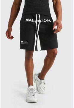 Black MAN Official Drop Crotch Printed Short