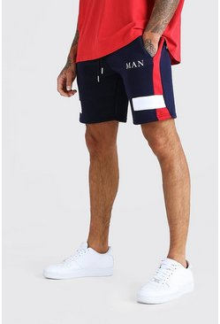 Navy MAN Roman Mid Length Colour Block Panelled Short
