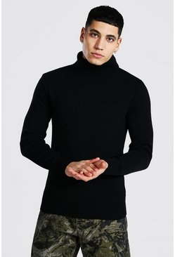 Muscle Fit Roll Neck Jumper, Black