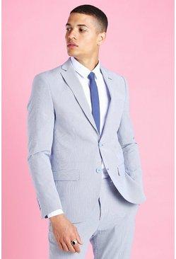 Blue Skinny Stripe Seersucker Suit Jacket