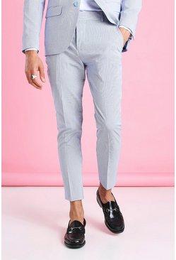 Blue Skinny Stripe Seersucker Cropped Suit Pants