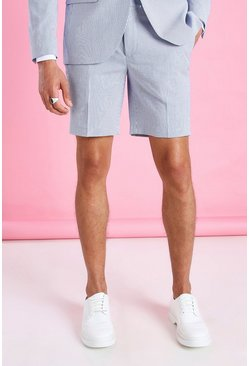 Blue Skinny Stripe Seersucker Tailored Suit Shorts