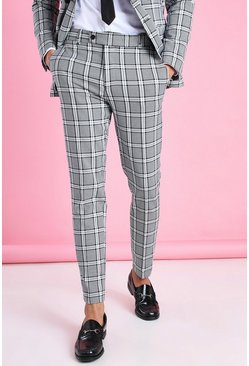 Black Skinny Check Suit Pants