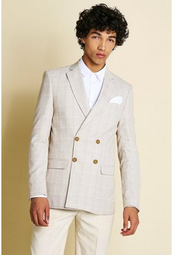 Beige Skinny Check Double Breasted Suit Jacket