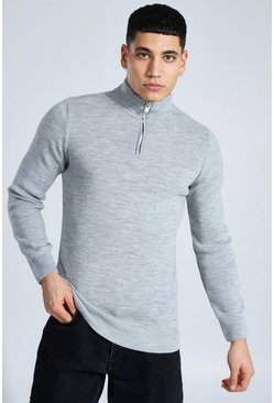 Grey Half Zip Funnel Neck Sweater