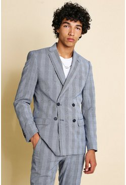 Navy Skinny Check Seersucker Double Breasted Suit Jacket
