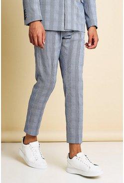 Navy Skinny Check Seersucker Cropped Suit Pants