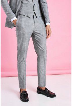 Grey Super Skinny Stripe Suit Trouser