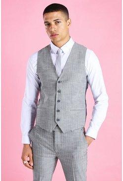 Grey Super Skinny Stripe Suit Vest