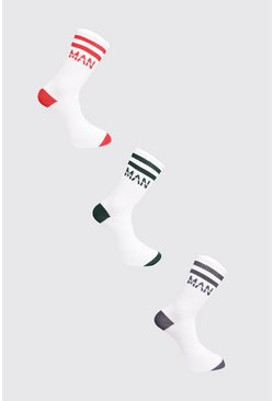 White 3 Pack MAN Dash Colour Block Sock
