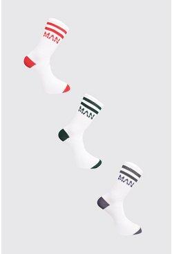 White 3 Pack MAN Dash Colour Block Sock