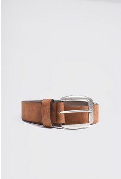 Brown Faux Suede Effect Belt