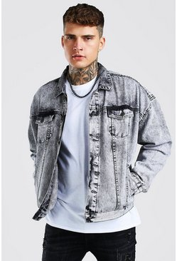 Oversized Jeansjacke im Acid-Wash-Look, Grau