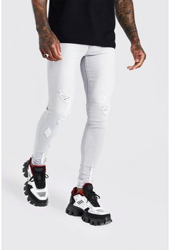 Light grey Spray On Skinny Jeans With All Over Rips
