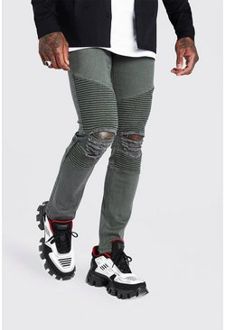 Khaki Skinny Biker Jeans With Distressed Knees