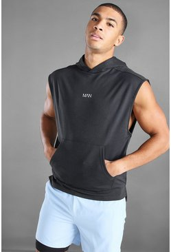 Navy MAN Active Hooded Tank With Step Hem