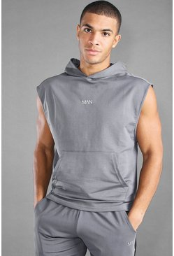 MAN Active Tanktop mit Kapuze und Stufensaum, Anthrazit