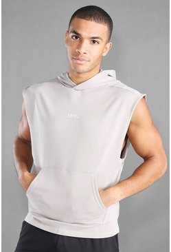 Silver MAN Active Hooded Tank With Step Hem
