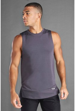 Charcoal MAN Active Mesh Tank With Split Hem