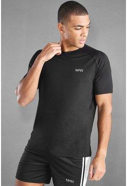 Black MAN Active T-Shirt With Split Hem