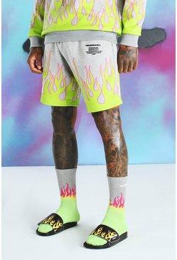 Grey marl Quavo Flame Print Jersey Short