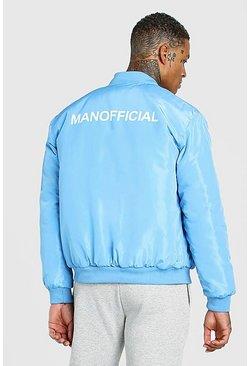 Blue MAN Official Back Print Padded Bomber